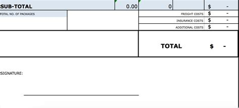 standard blank commercial invoice template