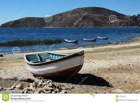 Lake Boats Small by Small Boat On Lake Titicaca Royalty Free Stock Photography