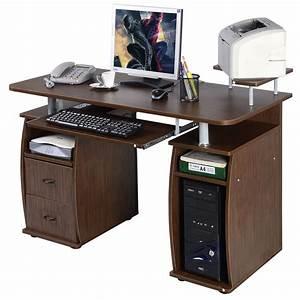 Costway, Computer, Pc, Desk, Work, Station, Office, Home, Monitor, U0026printer, Shelf, Furniture, Walnut