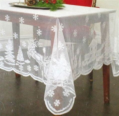 Free Shipping Christmas White Lace Tablecloths Snowflake