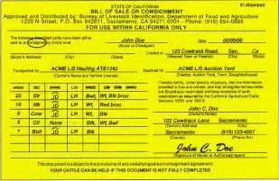 Transport Bill Sle by Cdfa Gt Ahfss Gt Bureau Of Livestock Identification