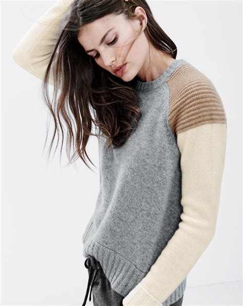 Jcrew Womens Colorblock Cashmere Sweater And Drapey