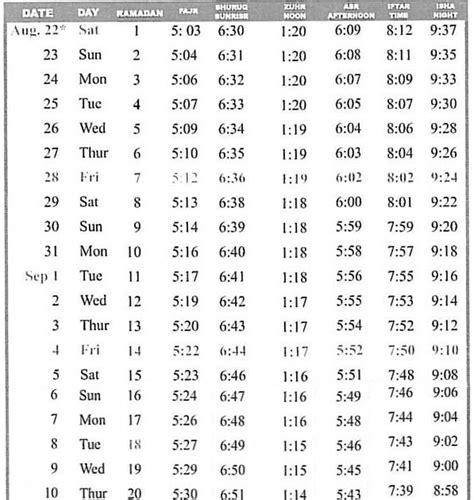 ramadan timetable ramadan schedule