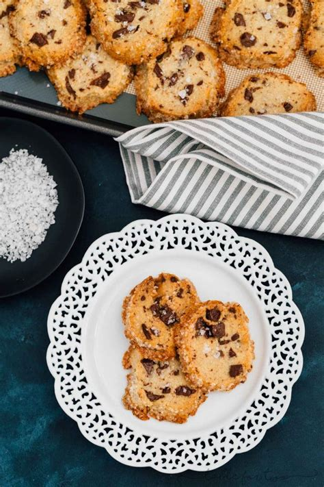 salted shortbread chocolate chunk cookies table
