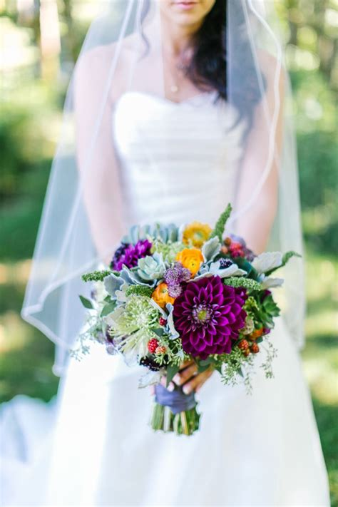 rustic purple  green wedding bouquet  fall wedding