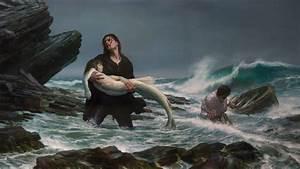 Fantasy art mermaids storm waves beaches mood sad sorrow ...