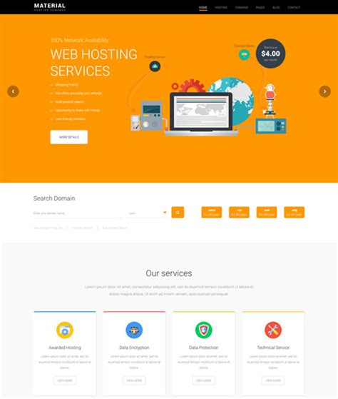 the best premium mateial website templates 70 best hosting website templates free premium