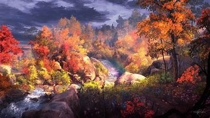 4k Fantasy Autumn Painting Wallpapers Digital Backgrounds
