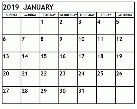 Type And Print Free by Free January 2019 Printable Calendar Templates Calendar
