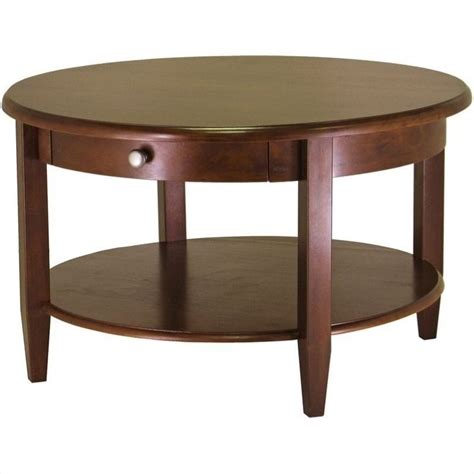 vintage round coffee table round wood coffee table in antique walnut 94231