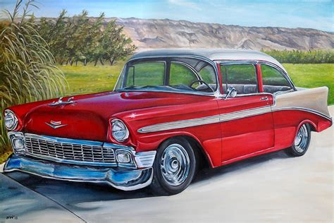 Custom Classic Car Original Oil Painting Old By