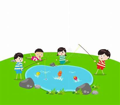 Fishing Pond Clipart Kid Boy Illustration Vector