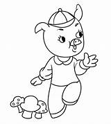 Coloring Pigs Three Pages Printable Cartoon Momjunction Cute Comments sketch template