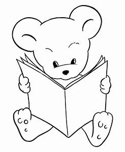 Teddy Bear Coloring Pages | Free Printable Reading Bear ...