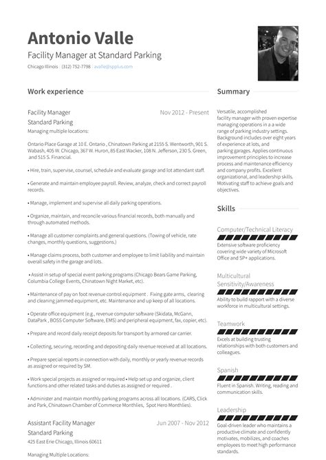 Facility Manager Resume by Facility Manager Resume Sles And Templates Visualcv