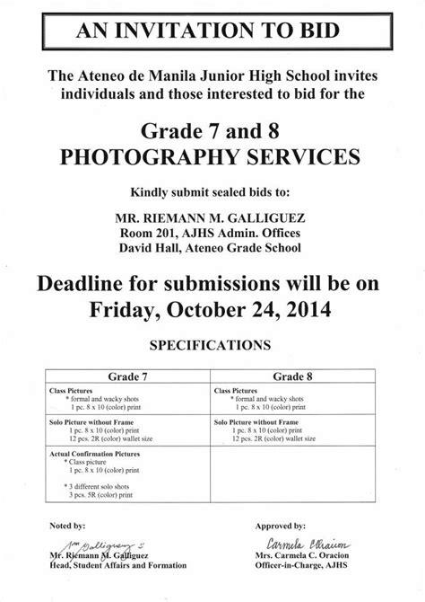 to bid invitation to bid photographers ateneo de manila