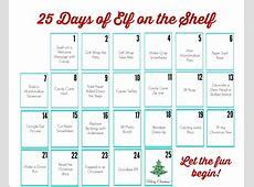 Elf on the Shelf Printable Calendar Uncommon Designs