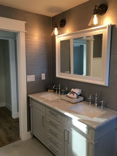 beautiful gray bathroom  marble counter top