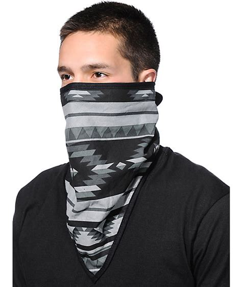 empyre premium grey black tribal print face mask bandana