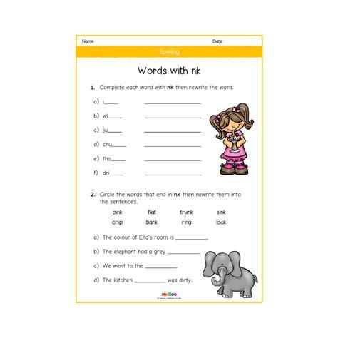spelling  worksheets english ks melloo