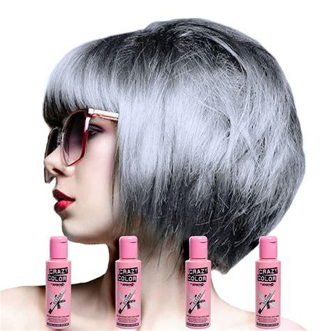 Crazy Colour Semi Permanent Silver Colour Hair Dye 4 Pack