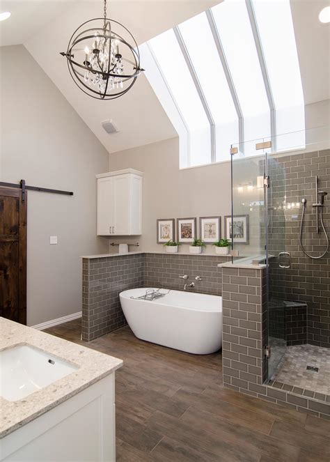 gray  white transitional spa bathroom  chandelier