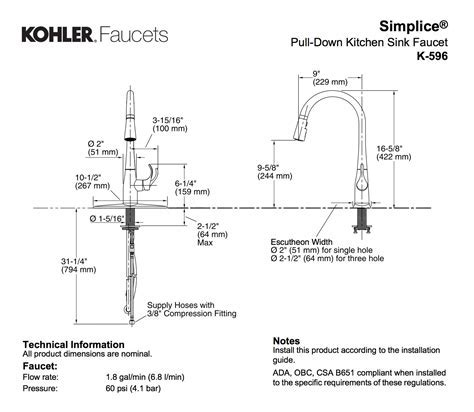 Kohler K 596 CP Simplice Single Hole Pulldown Kitchen