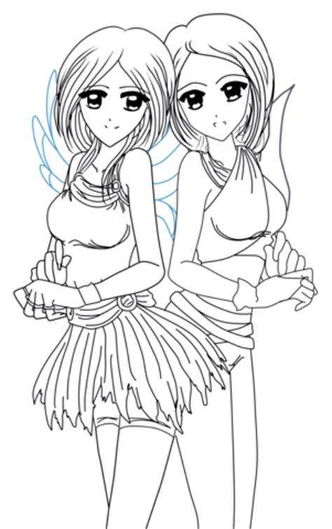 yin   anime twins coloring page  printable