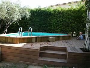 construction d39une piscine hors sol herault 34 With terrasse en bois pour piscine hors sol 1 piscine bois hors sol bluewood avec jacuzzi construction