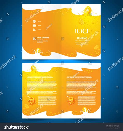 Brochure Design Template Juice Fruit Drops Stock Vector Booklet Catalog Brochure Folder Juice Fruit Drops Liquid