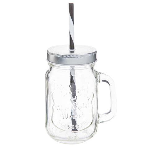 bocal avec paille en verre h 14 cm cold maisons du monde