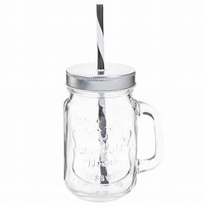 Bocal Avec Paille : bocal avec paille en verre h 14 cm ice cold maisons du monde ~ Teatrodelosmanantiales.com Idées de Décoration