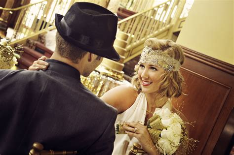 Great Gatsby Wedding Theme Bride and Groom OneWed com