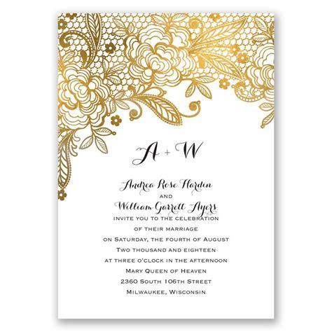 gold lace invitation   response postcard anns