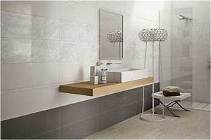 photo carrelage mural salle bains blanc gris clair motifs With carrelage salle de bain clair