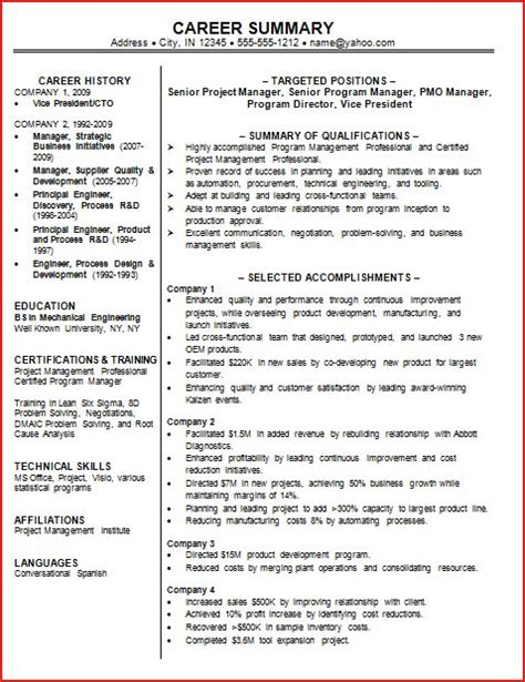 resume career summary exles professional summary