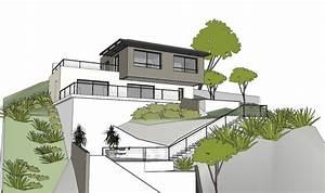 maison contemporaine sur un terrain en pente a l39estaque With implantation maison sur terrain en pente