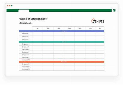 Schedule Template Weekly Timesheet Monthly Employee 7shifts