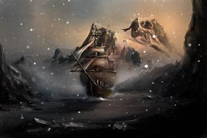Skyrim Winterhold Wallpapers Ship Rocks Snow Water