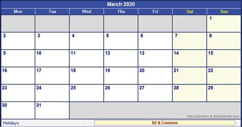 march zealand calendar holidays printing