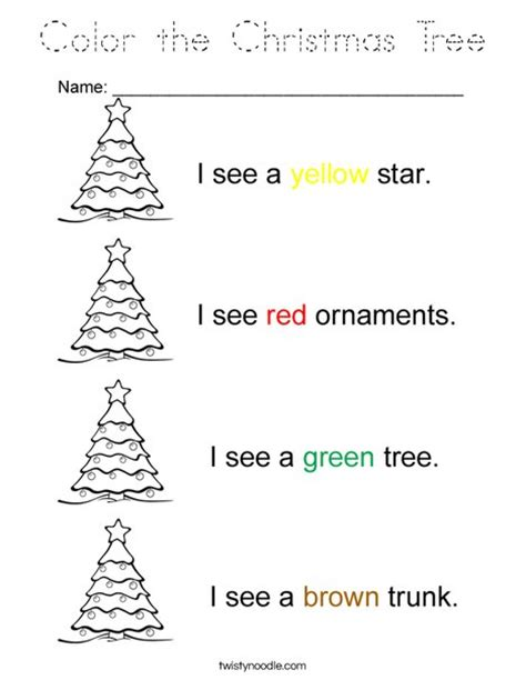traceable christmas tree color the tree coloring page tracing twisty noodle