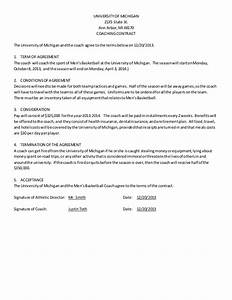 men39s basketball coach contract example With coaching contracts templates