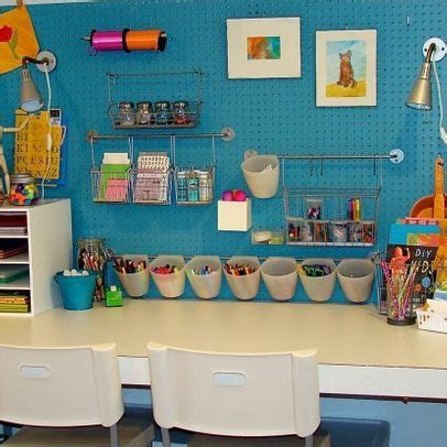Pegboard Kid's Craft Area I Like This Because It's