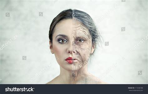 Half Old Half Young Woman Stock Photo 117236788