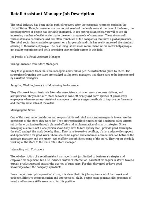 retail assistant manager description