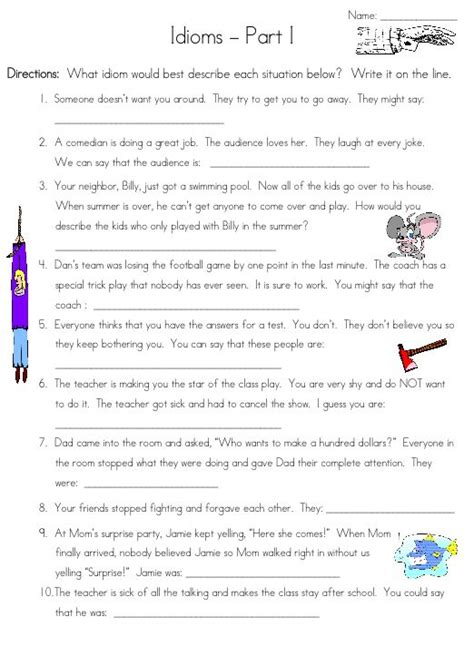 idiom worksheet can you guess worksheets for all