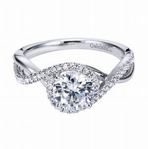 gabriel co 14k white gold contemporary criss cross With 3 crossing wedding bands engagement ring
