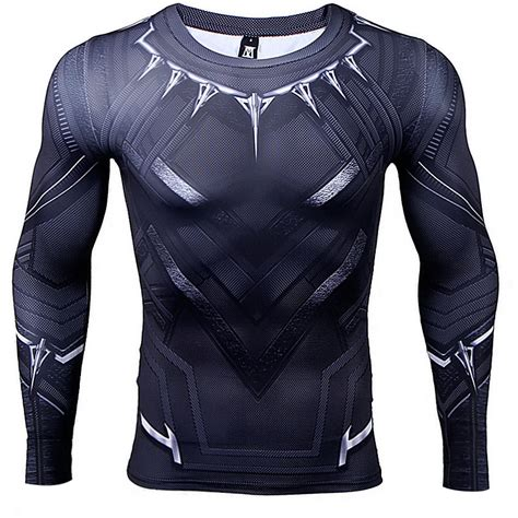 collar longsleeve black panther rash guard t shirt longsleeve 2016