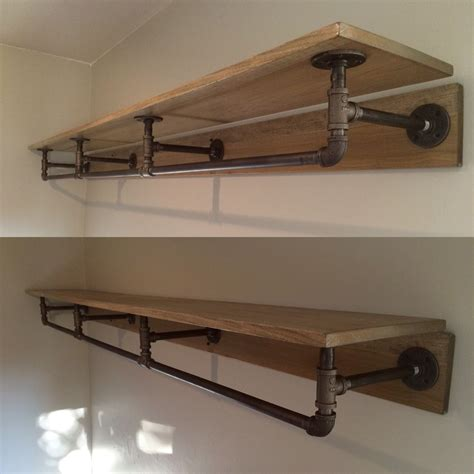 pipe shelving made from metal piping and stained wood pipe shelving shelving and