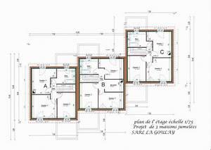 plan maison mitoyenne moderne mc immo With plan maison mitoyenne par le garage
